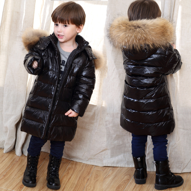 ec8d23fae Boys Winter Jacket Children Duck Down Coat for Kids Long Fur Parka ...