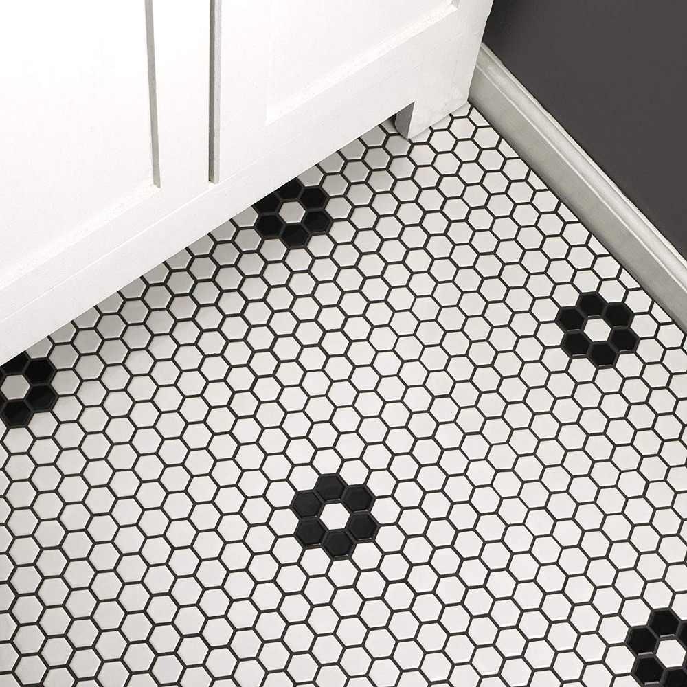 - 23mm Glossy Black White Honeycomb Ceramic Mosaic Tile Kitchen
