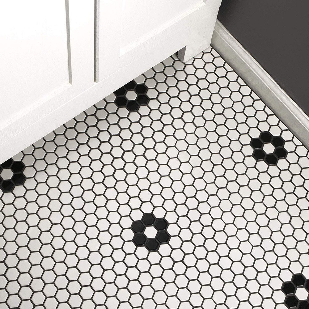 23mm glossy black white honeycomb ceramic mosaic tile kitchen backsplash swimming pool bathroom floor tiles 3d wall tile