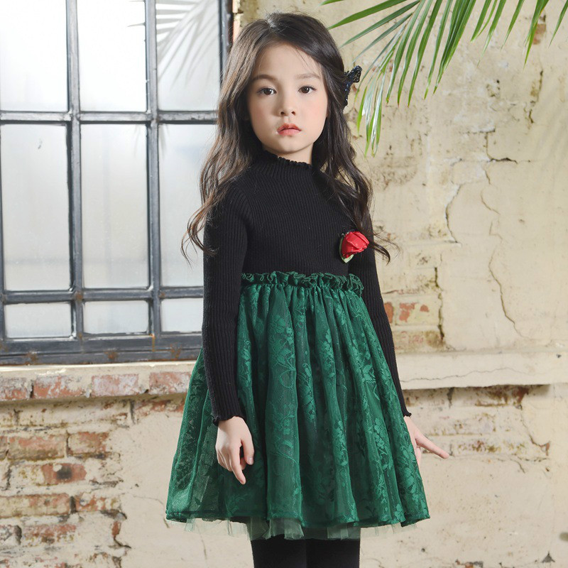 High Quality 2017 New Baby Girls Lace Dresses Knitted Cotton Mesh Tutu Dress Autumn Winter Girl Party Vestidos 2-10Years CC580 spring autumn girl style dress princess girls dresses high quality cotton kids party costumes solid thicker vestidos zipper bow
