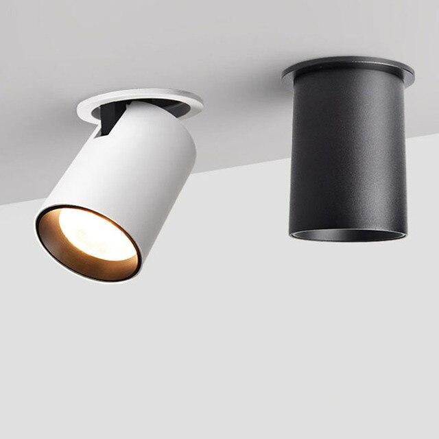 2019 новый светодиодный прожектор встроенный, потолочный светильник для гостиной простой скандинавский Регулируемый вверх вниз влево и вправо 7 Вт 12 Вт CREE COB светильник