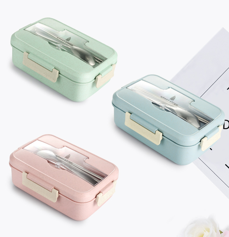 TUUTH Microwave Lunch Box Wheat Straw Dinnerware Food Storage Container Children Kids School Office Portable Bento Box B3