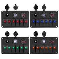 12V 24V 6 Gang Car Boat Marine LED Rocker Switch Panel Dual USB Voltmeter Cigarette Lighter Auto Replacement Parts