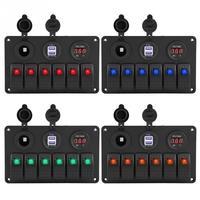 12V 24V 6 Gang Car Boat Marine LED Rocker Switch Panel Dual USB Voltmeter Cigarette Lighter Auto Replacement Parts