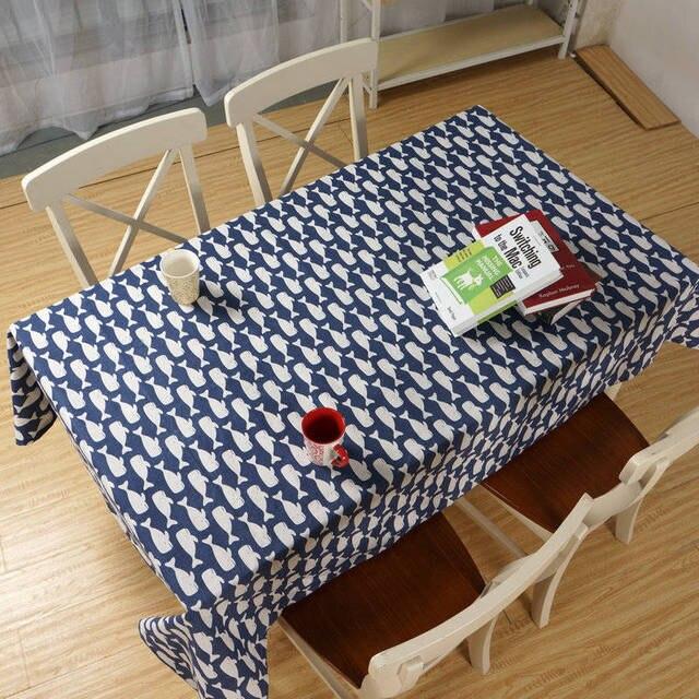 europe animal baleine nappe coton nappe en lin bleu tapis de table