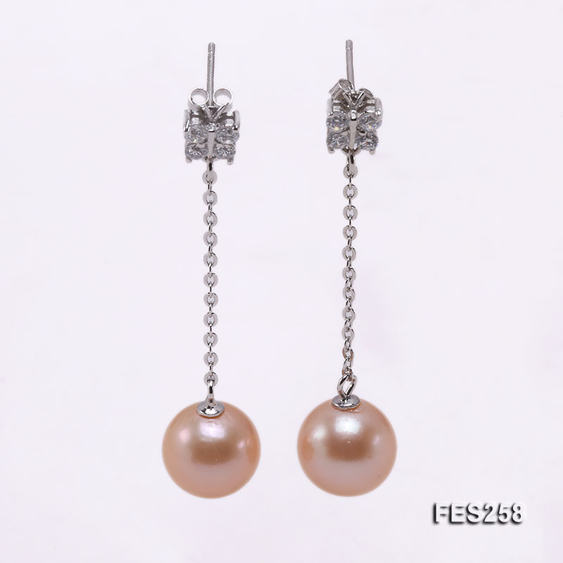 Wedding Birthday Pearl Earrings 11mm Pink Round Freshwater Pearls 925 Silver Rhinestone Jewellery Women Gift цена