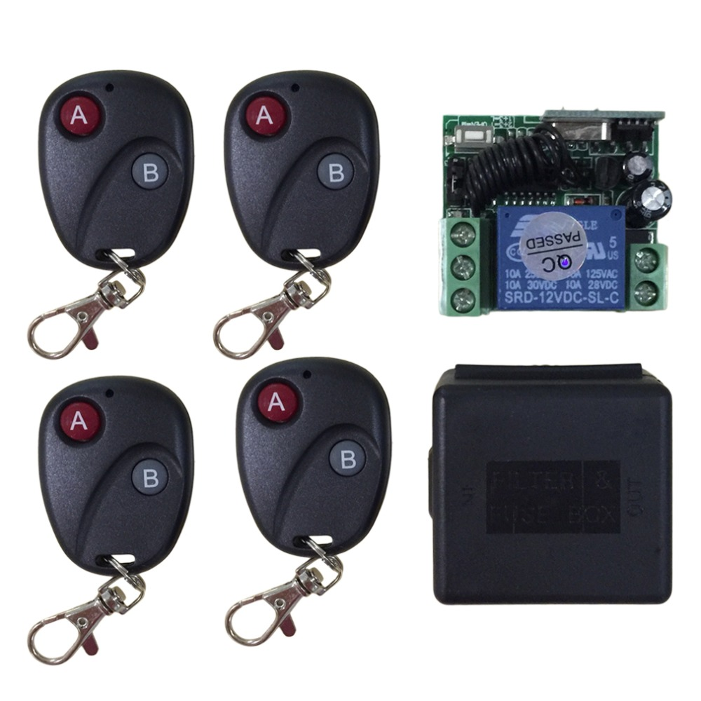 Relay DC 12V 7A <font><b>1CH</b></font> LED wireless <font><b>RF</b></font> Remote Control Switch Transmitter Receiver System For Access/door Control System Universal image