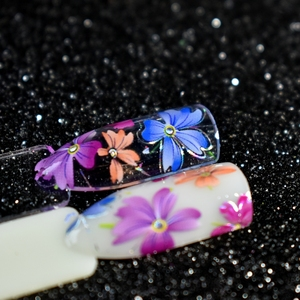 Image 3 - Nail Art Flower Decal Foil Image Transfer Spirit Wild flower Sticker Foil Easy DIY Manicure Decoration Roll in clear jar 1m