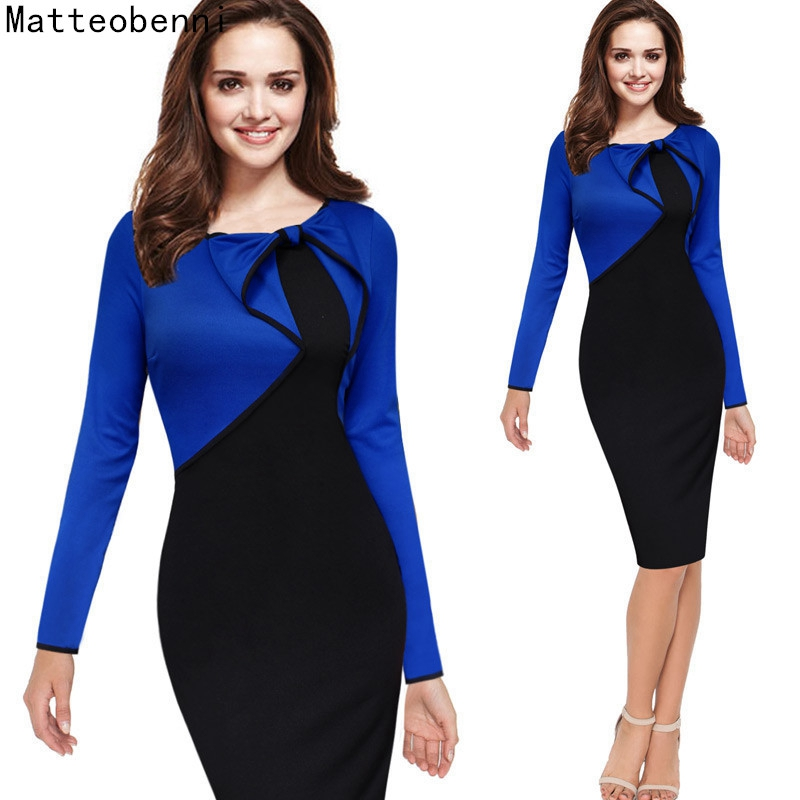 Women Elegant Ruffles Patchwork Peplum Vintage Work Office Business Party Bodycon Pencil Sheath Formal Dress Suit Long Sleeve