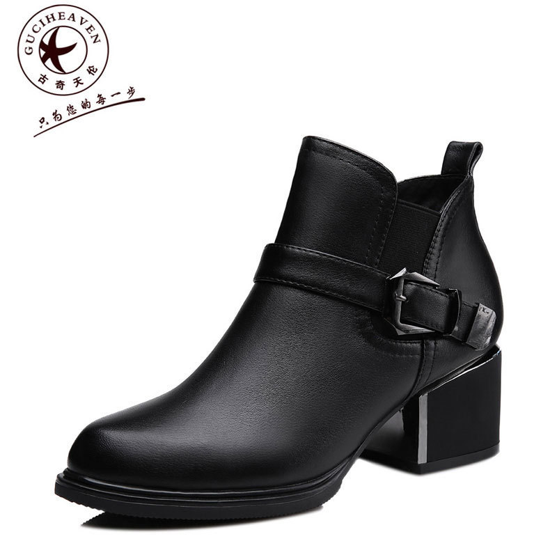 Guciheaven 8537 Cow Leather Round Toe Slip-on Footwear Soft Leather Cool Women Motorcycle Boots Ladies Platform Thick Heel Pumps nayiduyun women genuine leather wedge high heel pumps platform creepers round toe slip on casual shoes boots wedge sneakers