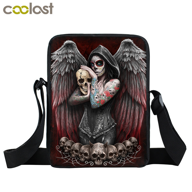 Dark Gothic Angel Skull Mini Messenger Bag Girls Ladies Shoulder Bags Grim Reaper Punk Women Cross Bag Kids Gift Bags Bookbag