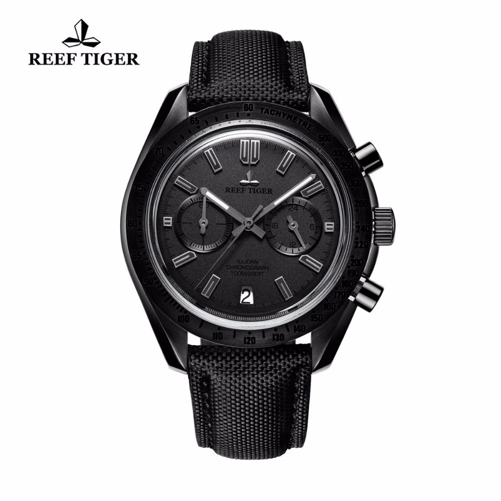 Reef Tiger Mens Designer Chronograph Watches Date Calfskin Nylon Strap Luminous Sport Quartz Waterproof Watch Relogio Masculino reef tiger brand men s luxury swiss sport watches silicone quartz super grand chronograph super bright watch relogio masculino