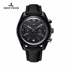 Reef Tiger Mens Designer Chronograph Watches Date Calfskin Nylon Strap Luminous Sport Quartz Waterproof Watch Relogio Masculino