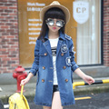 2016 nova chegada das crianças de manga comprida cardigan denim calça jeans casaco jaqueta moda da menina azul
