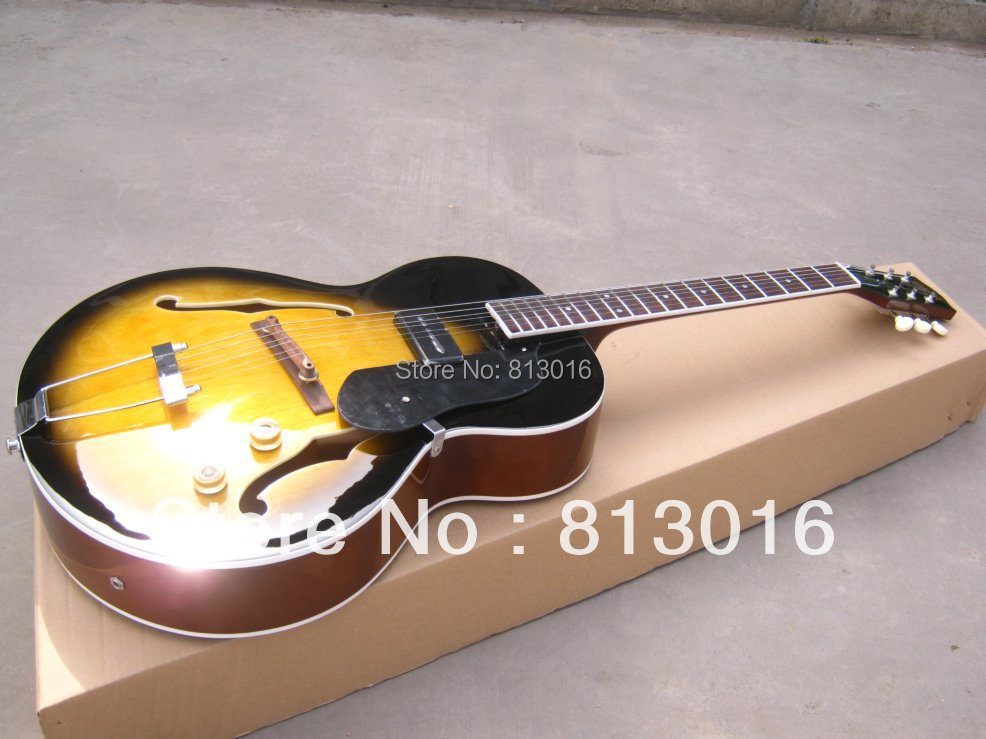New arrived ES-125 Archtop Guitar, tobacco burst Electric Guitar Free shipping with chrome hardware free shipping new electric guitar open pickup hy 8311