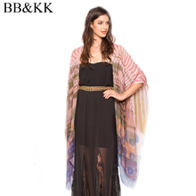 Women Summer Beach Boho Cardigan Gradient Ramp Printed Short Sleeve Casual Loose Long Beach Coat Tops kimono