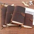 Cuaderno en espiral de cuero genuino Handnote diario planificador hecho a mano Agenda Vintage Sketchbook diario Personal pasaporte bala diario