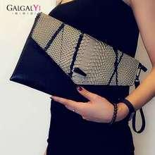 GALGALYI Lady Clutches Bags Genuine Leather Handbag 2018 Fashion Envelope Bags Clutch Evening Bag Black/White/Glod Handbags