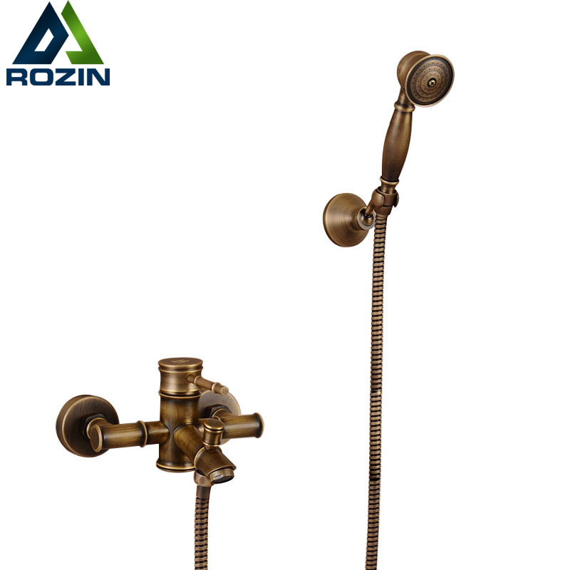 Antique Brass Bamboo Joint Tub Shower Faucet Spray Single Handle Wall Mounted Bathtub & Shower Faucet Bidet Taps flg free shipping bamboo antique brass rainfall bamboo shower faucet set bath tub mixer tap single handle shower wall mounted
