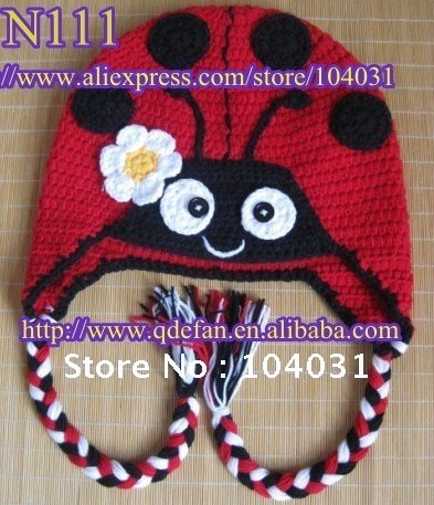 Wholesale 2013 New Arrival Animal Crochet Ladybug Hatamerican Baby