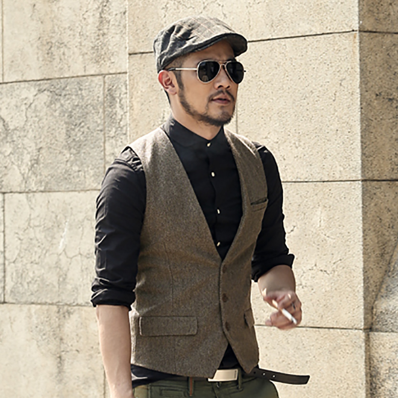 mens formal waistcoats dress suit vest slim Three button Woolen vest men casual sleeveless jacket coat British autumnn suit vest