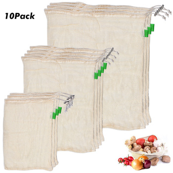 10 PCS/Set Degradable Organic Cotton Mesh Bag Vegetable Cotton Mesh Bag Fruit Mesh Bag Reusable Bags Reducing Carbon Footprint