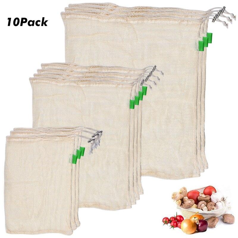 10 PCS Set Degradable Organic Cotton Mesh Bag Vegetable Cotton Mesh Bag Fruit Mesh Bag Reusable