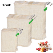 10 PCS/Set Degradable Organic Cotton Mesh Bag Vegetable Fruit Reusable Bags Reducing Carbon Footprint