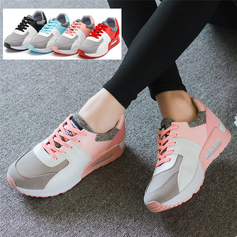 Woman Breathable Mesh Lace-up Ladies Outdoor Walking Shose Lazy Shoe Autumn Summer Pink Shoes