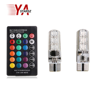 2Pcs Set 5050 SMD RGB LED T10 194 168 W5W Car Wedge Light Turn Signal Indoor