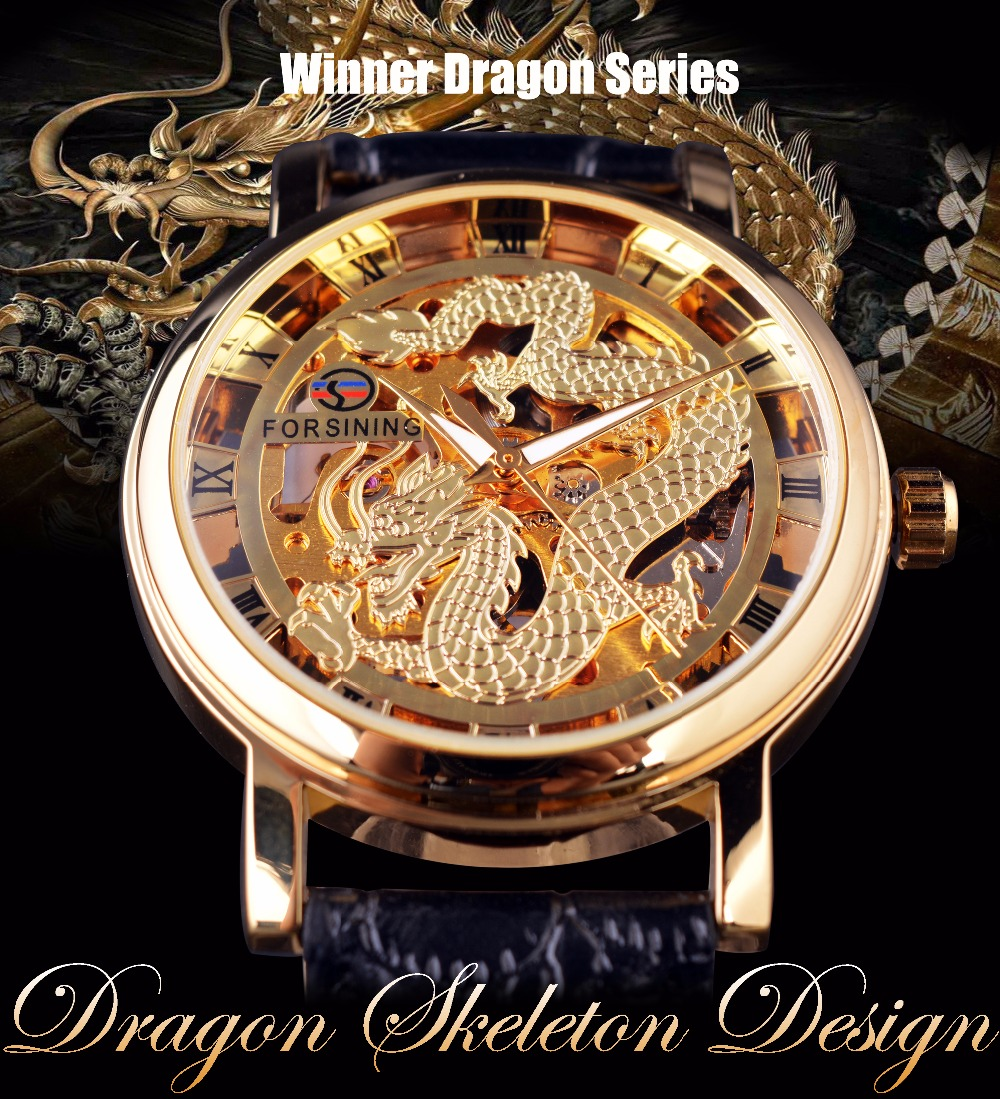 Forsining Chinese Dragon Skeleton Design Transparent Case Gold Watch Mens Watches Top Brand Luxury Mechanical Male Wrist Watch 1