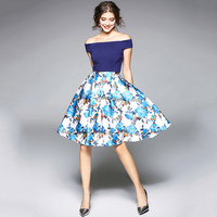 Tanpell Slash Neck Homecoming Dress Blue Short Sleeves Knee Length A Line Gown Women Party Patchwork