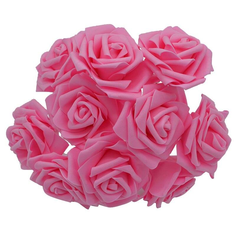 10 шт. 8 см большие ПЭ пенные цветы искусственные розы цветы Свадебные букеты Свадебные украшения для вечеринки DIY Скрапбукинг Ремесло поддельные цветы - Цвет: pink  no leaf