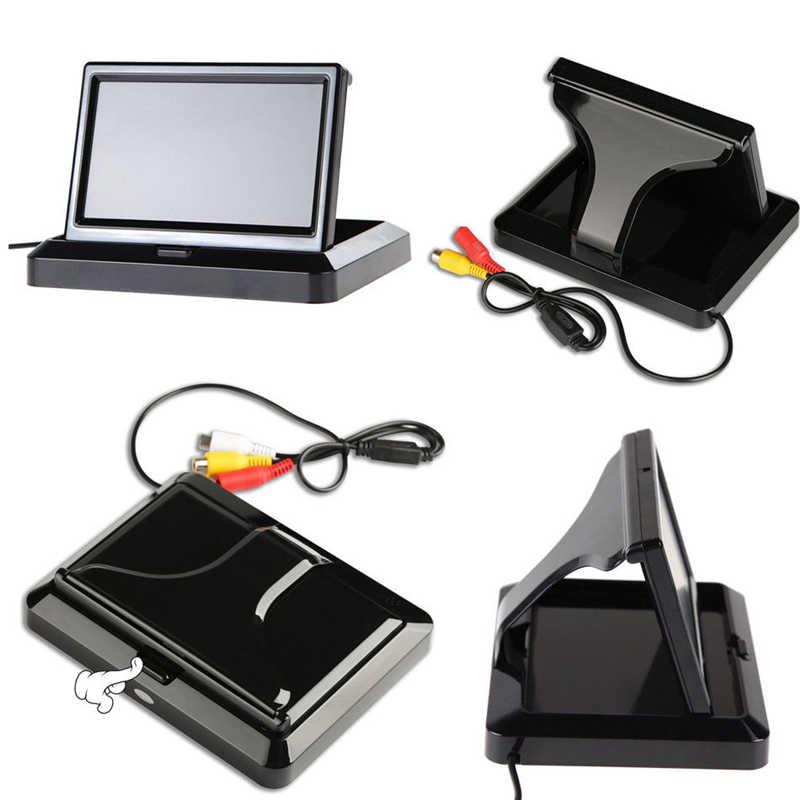 YuanTing lcd автомобильный TFT дисплей Настольный/складной/зеркальный монитор 5 ''видео PAL/NTSC автопарковка для камеры заднего вида