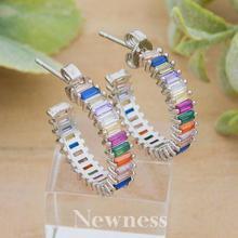 Newness Delicate mix Color Full Cubic Zirconia Women Wedding DUBAI Bridal Round Circle Earrings