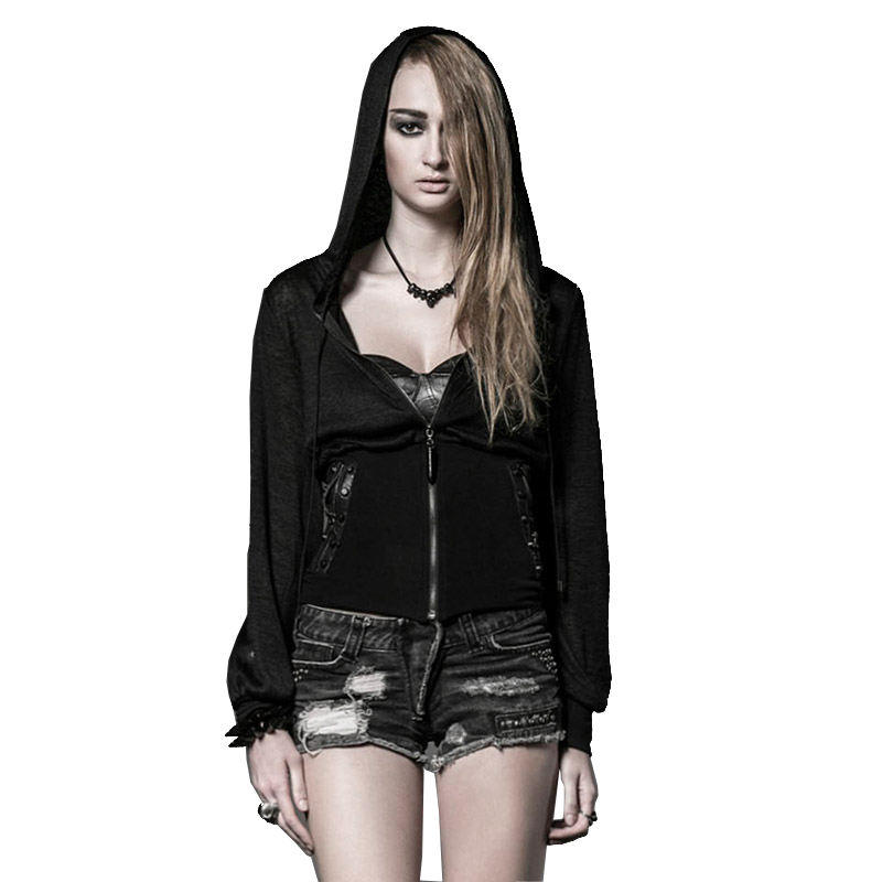 Wome With Rivets And Pockets Speaker Sleeve Waist Hoodies Zip Top Hat With Lace Zip Pocket Waistband Hoodies