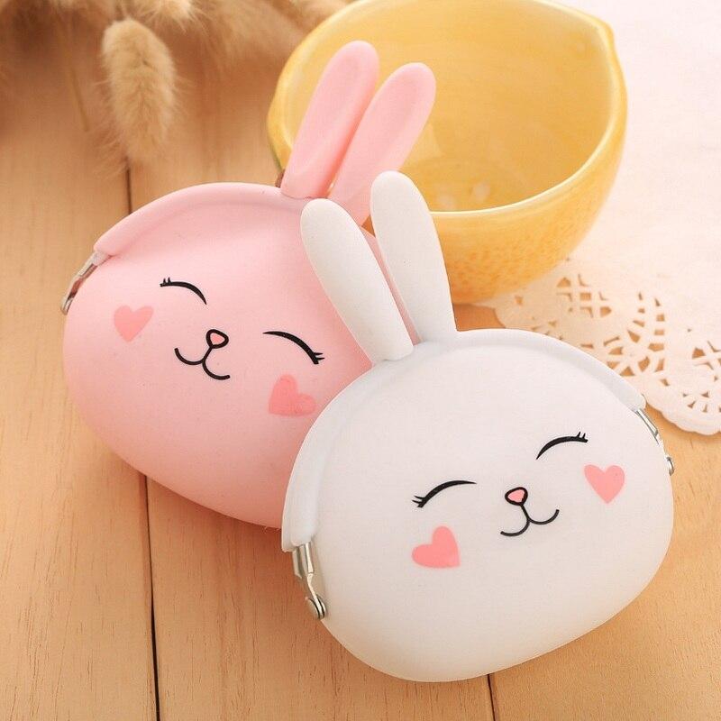 Girls Cute Bunny Coin Purse Lovely Kawaii Cartoon Rabbit Money Bag Pouch Women Small Wallet Soft Silicone Change Purse Kid Gift
