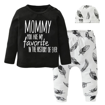 2018 Autumn Baby Boy Girl Clothing Sets Long sleeve Letter Daddy and Mommy T-shirt+Pants+Hat Toddler Clothes Suit Infant Outfits