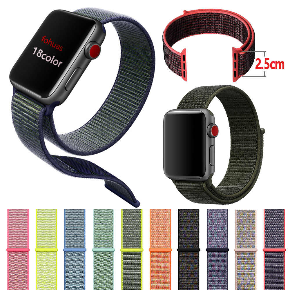 Bucle deportivo de actualización para apple watch series 5 4 3 2 1 correa para iwatch 44mm 40mm 38mm 42mm de doble capa de nailon tejido