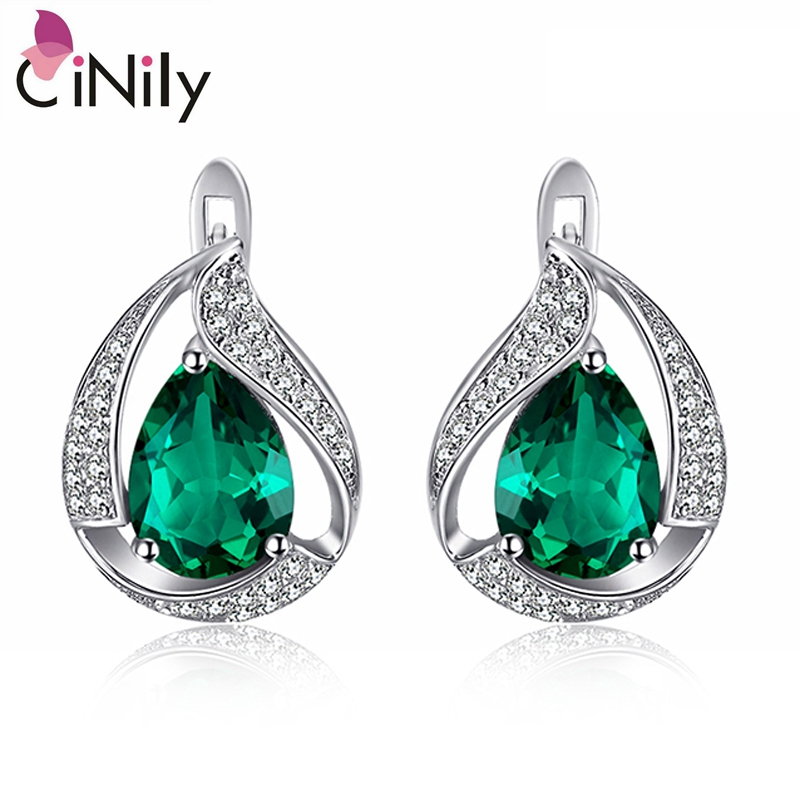 CiNily Authentic. Solid 925 Sterling Silver Created Emerald Cubic Zirconia Hot Sale for Women Fine Jewelry Stud Earrings SE038