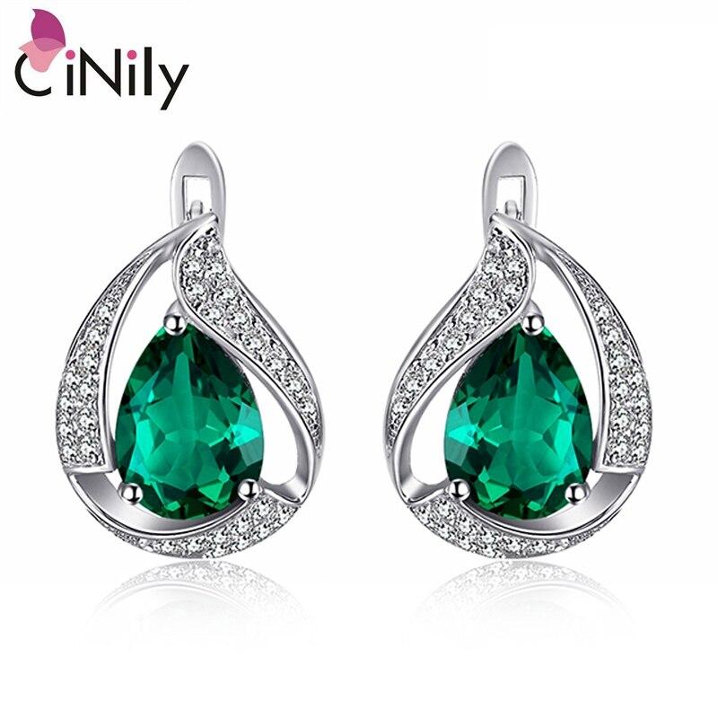 CiNily Authentische. Solide 925 Sterling Silber Erstellt Smaragd Zirkonia Heißer Verkauf für Frauen Edlen Schmuck Stud Ohrringe SE038