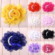 (30 шт./лот) искусственная Роза, шифоновый цветок с жемчугом для младенцев, Детские аксессуары для волос, цветок конфетных цветов для волос