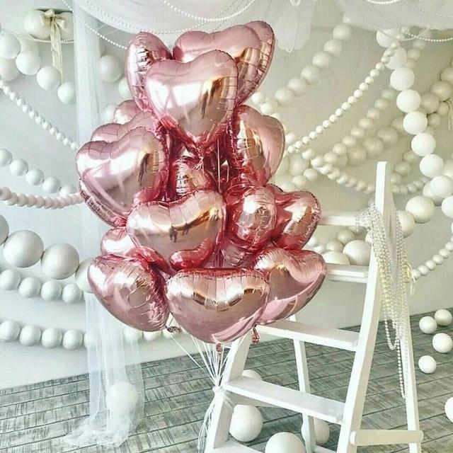 10 pcs 18 polegada Rosa de Ouro Amor Coração Da Folha De Balões de Hélio Festa de Aniversário Do casamento decoração eu te amo casamento Globos orbs suprimentos