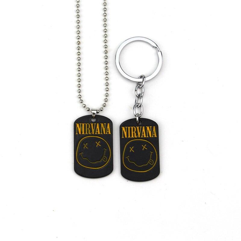 New Classic NIRVANA Keychain Rock Band Unplug Key Chain Keyring NIRVANA Pendant Necklace
