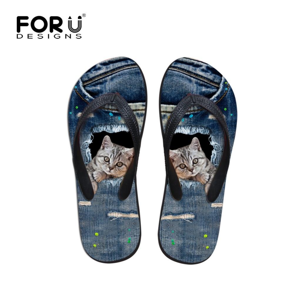 912183c33c8028 Brand men Beach Flip Flops Cute Animal Cat Print boys Flat Sandals Denim  Blue Summer man Slippers Home Zapatos male Sapatos