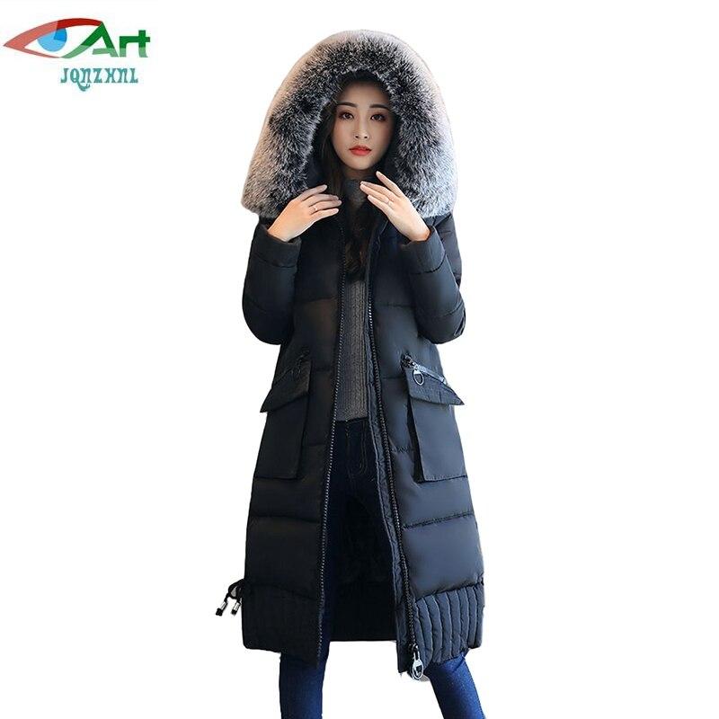 JQNZHNL 2017 Winter Parkas Women Medium Long Thicken Cotton Coats Outerwear Big Fur Collar Hooded Loose Casual Cotton Coats E617