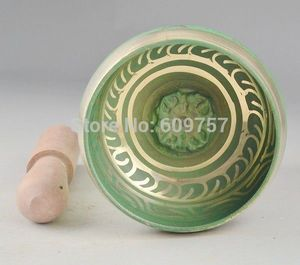 about Copper Tibetan Green Singing Bowl HIMALAYAN hand hammered CHAKRA MEDITATION Religion Wholesale 2pcs bronze Bowl sets|set chair|set trayset brush -