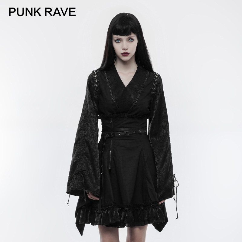 PUNK RAVE Punk Retro Japanese Fitted Kimono Women Shirt V Neck Jacquard Adjustable Tether Long Sleeves