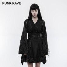 PUNK RAVE Punk Retro Japanese Fitted Kimono Women Shirt V-Neck Jacquard Adjustable Tether Long Sleeves Black Tops Blouses