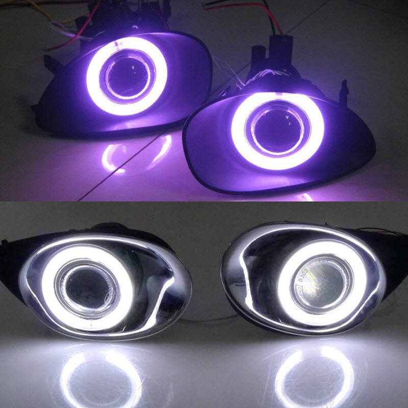 For Toyota Yaris Vitz XP90 2005-2010 3-in-1 White Angel Eyes DRL Yellow Signal Light H11 55W E13 Fog Lights Projector Lens 2pcs purple blue red green led demon eyes for bixenon projector lens hella5 q5 2 5inch and 3 0inch headlight angel devil demon